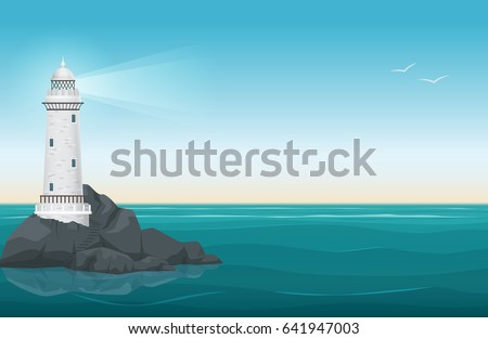 lighthouse on rock stones