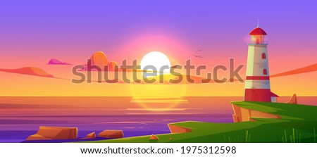 Lighthouse on sea shore at sunset, beacon building at scenery dusk view, nature ocean landscape with rocky coast under cloudy sky with flying gulls. Nautical seafarer, Cartoon vector illustration