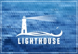 Lighthouse postcard, poster with deep ocean blue background