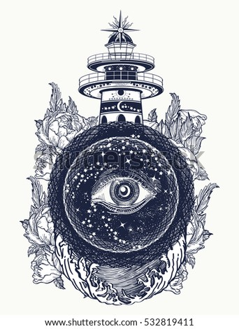 Lighthouse, roses and all seeing eye tattoo. Freemason, spiritual, illuminati, secret and mystical signs tattoo. Lighthouse in the storm, and the all seeing eye t-shirt design