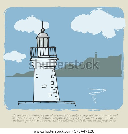Lighthouse. Sea view. Vintage card. Vector illustration.