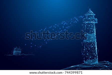 Lighthouse searchlight beam through Yacht in the sea from lines and triangles, point connecting network on blue background. Illustration vector