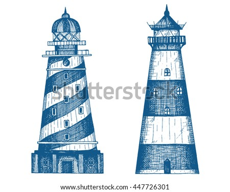 lighthouse set  vector...