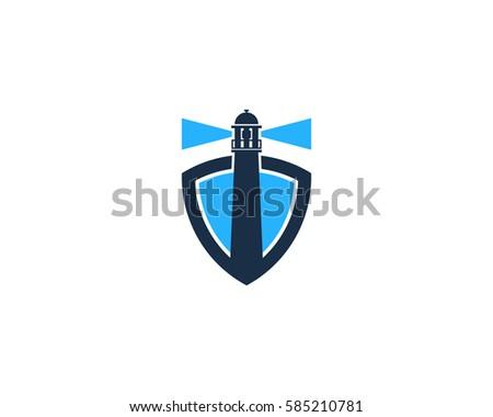 Lighthouse Shield Logo Design Element
