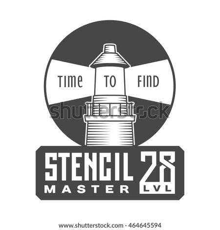 lighthouse, stencil master, circle shape retro engraving style badge logo, black and white vector graphic art illustration isolated background