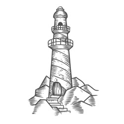 Lighthouse tower on the rocks, hand drawn engraving sketch vector nautical Lighthouse illustration. Lighthouse Retro vintage navigation marine building. Light house architecture  on white background