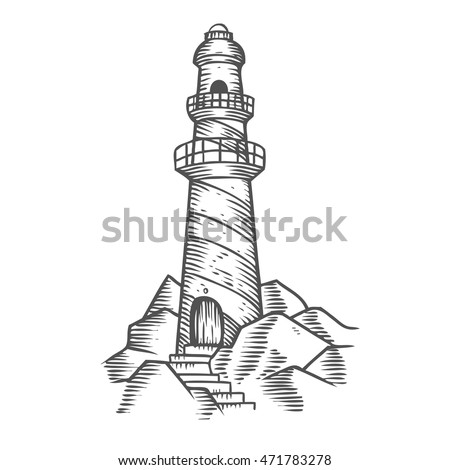 lighthouse tower on the rocks ...