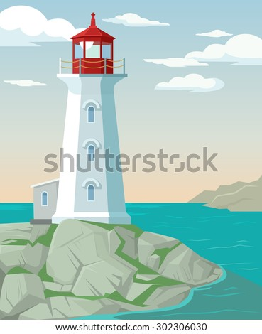lighthouse vector flat cartoon