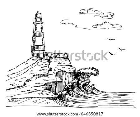 lighthouse vector hand drawn