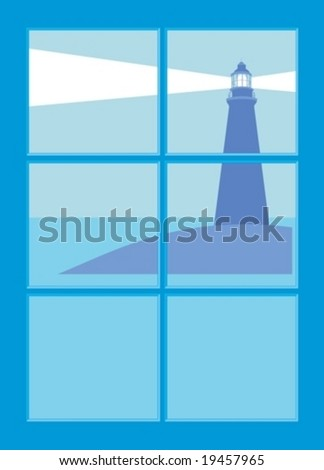 Lighthouse (Vector) seen through a window