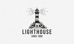 Lighthouse vintage logo. Lighthouse Nautical logo concept with grunge texture. Vector illustration