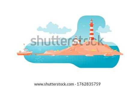 lighthouse with a house on a