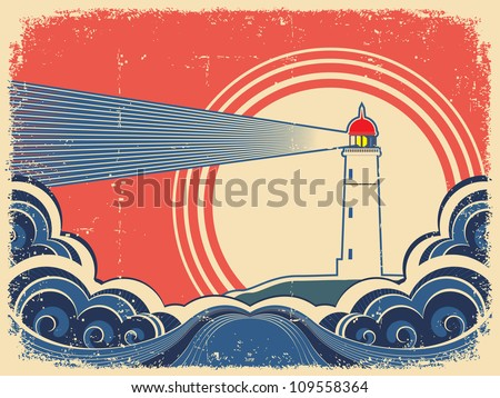 Lighthouse with blue sea.Vector grunge background for design of symbol card