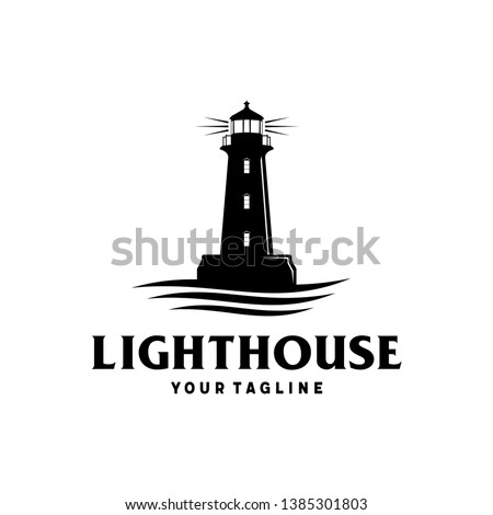 lighthouse with ocean vector