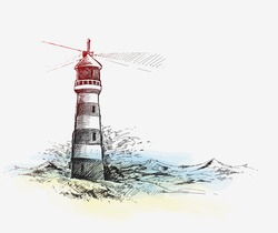 Lighthouse with sea waves. Hand Drawn Sketch Vector illustration.