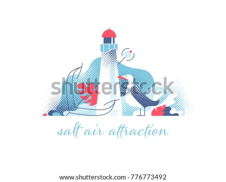 lighthouse with seagull and