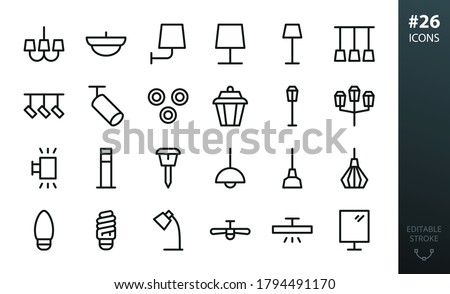 lighting and lamps icons set