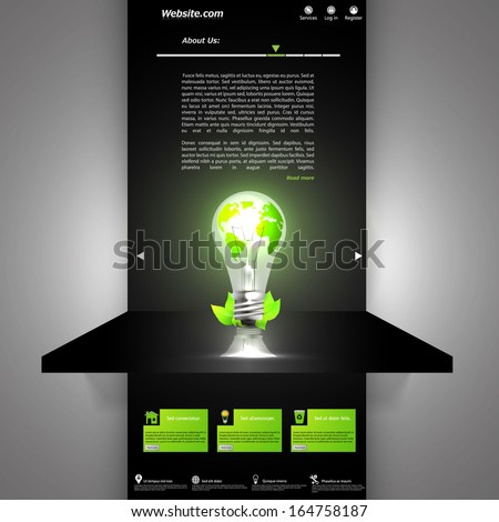 Lighting Bulb Eco Website Template Dark design