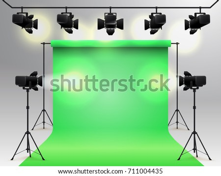 Lighting equipment and professional photography studio green hromakey blank background. Studio for photography with light equipment. Vector illustration. Isolated on gray background