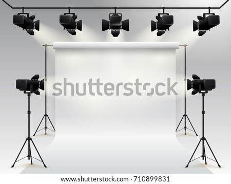 Lighting equipment and professional photography studio white blank background. Studio for photography with light equipment. Vector illustration. Isolated on gray background