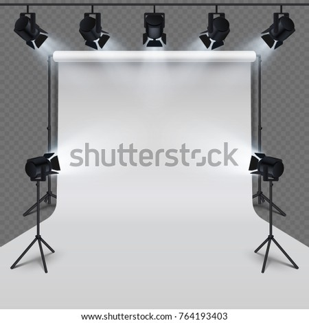 Lighting equipment and professional photography studio white blank isolated on transparent background. Vector illustration