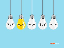 lighting idea bulb, concept think different or think positive, vector eps 10