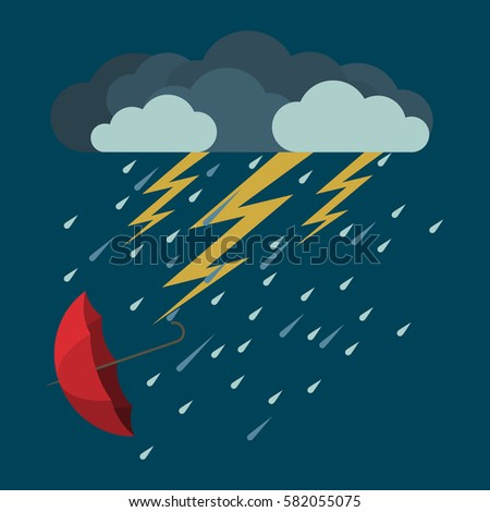 lightning and heavy rain with