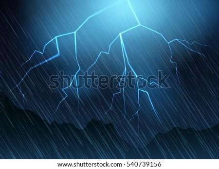 lightning and rain blue