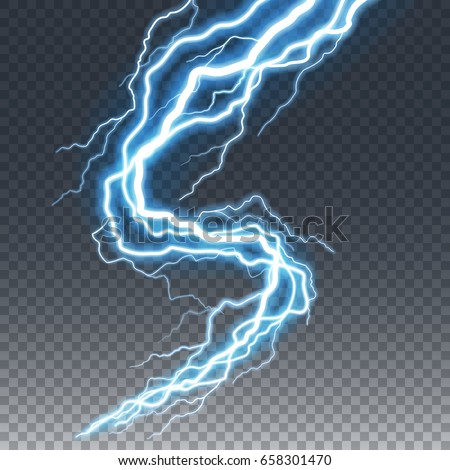 Lightning and thunder bolt or electric, glow and sparkle effect, vector art isolated on transparent background.