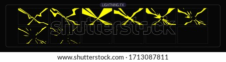 Lightning animation effect. thunderbolt sprite sheet for Video Game, Cartoon, Animation and motion design. Colorful lighting fx. EPS-10 vector illustration.