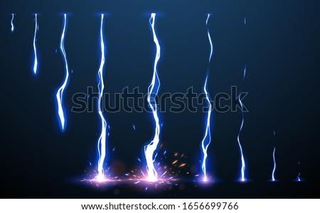 Lightning animation set with sparks