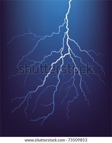 Lightning bolt at night. Vector illustration