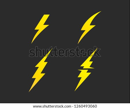 Lightning bolt, electricity power vector set