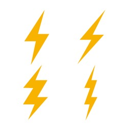 lightning bolt flash thunder icon electric isolated vector