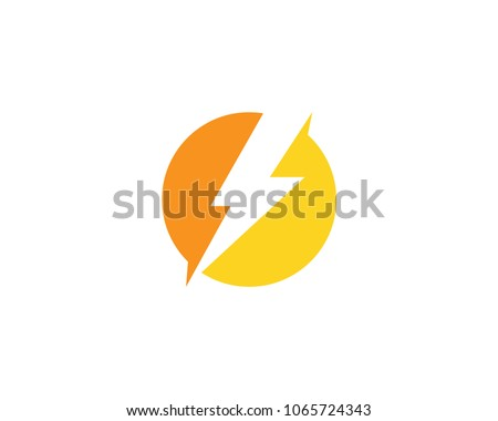 Lightning Bolt Flash Thunder In Circle Icon Vector Logo Template