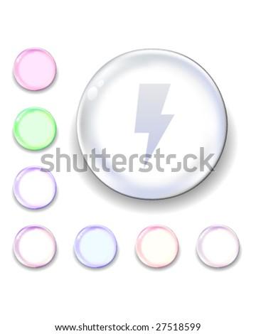 Lightning bolt icon on translucent glass orb vector button