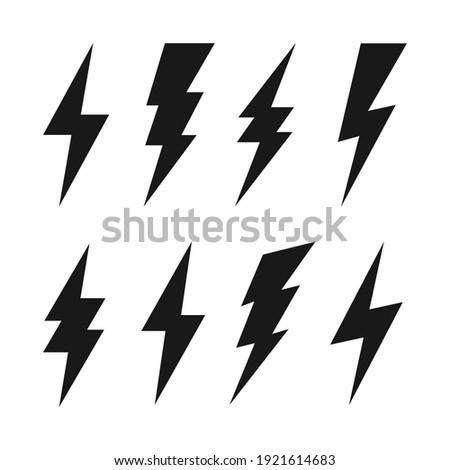 Lightning bolt icons collection. Flash symbol, thunderbolt. Simple lightning strike sign. Vector illustration. Stock photo ©