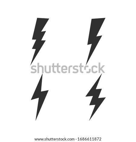Lightning bolt icons set. Thunderbolt, lightning strike icon isolated on white background. Vector illustration  Foto stock ©