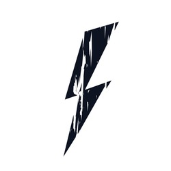 Lightning bolt logo icon black scratches symbol metal sign Hand drawn brush stroke Cartoon abstract modern design tech style Fashion print clothes apparel greeting invitation card banner poster flyer
