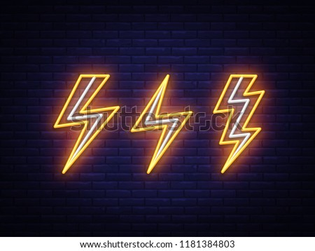 Lightning bolt set neon signs. Vector design template. High-voltage neon symbol, light banner design element colorful modern design trend, night bright advertising, bright sign. Vector illustration