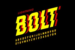 Lightning bolt style font design, alphabet letters and numbers vector illustration