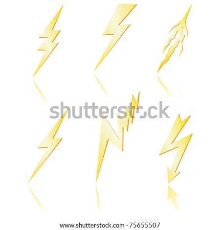 Lightning bolt  with reflection. Vector