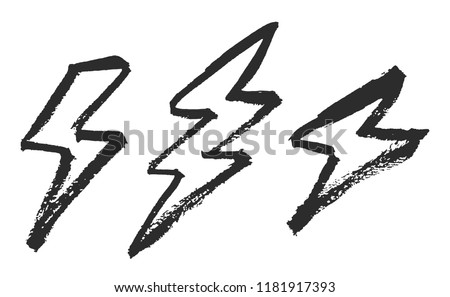 Lightning bolts brush painted vector illustrations isolated on white