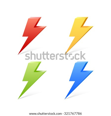 lightning color set 3d vector