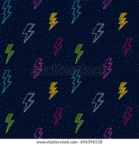 Lightning doodle pattern. Thunder or storm symbol. 80th, 90th style sketch. Scribble retro background. Scrawl vector. Modern fabric design.