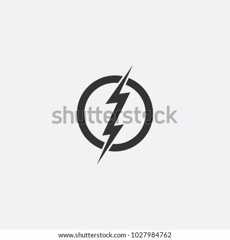 Lightning, electric power vector icon design element. Energy and thunder electricity symbol concept. Lightning bolt sign in the circle. Flash vector emblem template. Power fast speed logotype, logo