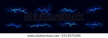 Lightning, electric thunderbolt strike of blue color during night storm, impact, crack, magical energy flash. Powerful electrical discharge, Realistic 3d vector bolts set isolated on black background Сток-фото ©