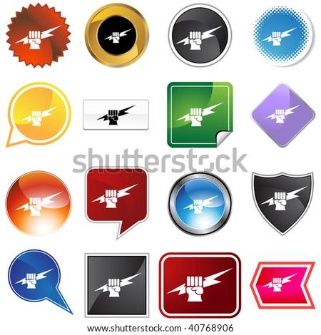 Lightning fist icon set isolated on a white background.