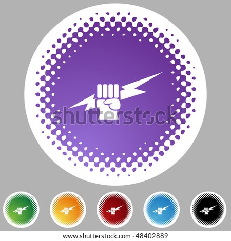 Lightning fist web button isolated on a background