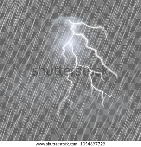 Lightning flash and raindrops on the transparent effect background. Thunderstorm and heavy rain. Realistic vector illustration of the lightning.